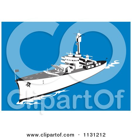 Clipart Of A Retro Military Battleship With Big Guns At Sea - Royalty Free Vector Illustration by patrimonio