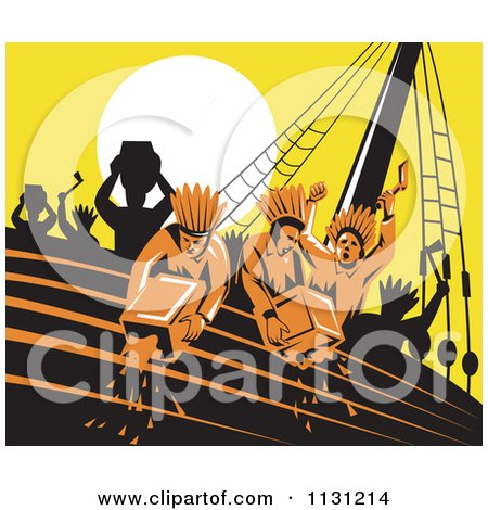 Clipart Of Retro Protestors Destroying Tea Boston Tea Party - Royalty Free Vector Illustration by patrimonio