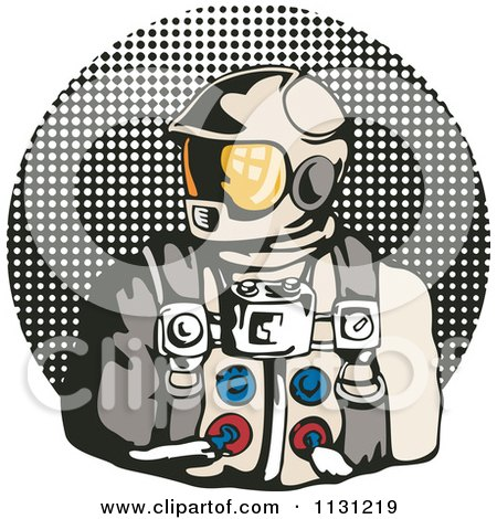 Clipart Of A Retro Astronaut Over A Halftone Circle - Royalty Free Vector Illustration by patrimonio