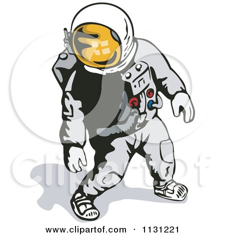 Clipart Of A Retro Astronaut Walking In A Space Suit - Royalty Free Vector Illustration by patrimonio