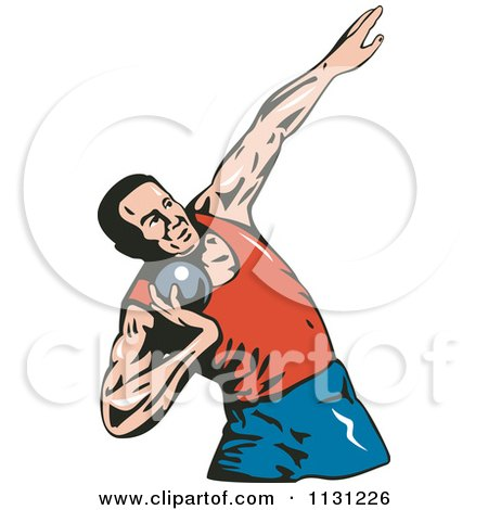 Clipart Of A Retro Male Shot Put Athlete - Royalty Free Vector Illustration by patrimonio