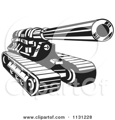 Clipart Of A Retro Black And White Cannon Military Artillery Tank - Royalty Free Vector Illustration by patrimonio