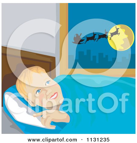 Clipart Of A Boy Thinking Of Santa As He Goes To Bed On Christmas Eve - Royalty Free Vector Illustration by patrimonio