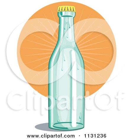 Clipart Of A Retro Soda Bottle And Orange Burst - Royalty Free Vector Illustration by patrimonio