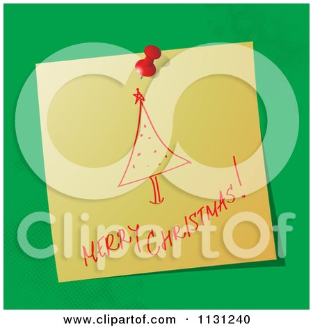 Clipart Of A | Handwritten Merry Christmas Note With A Tree On Green | Royalty Free Vector Illustration by MilsiArt