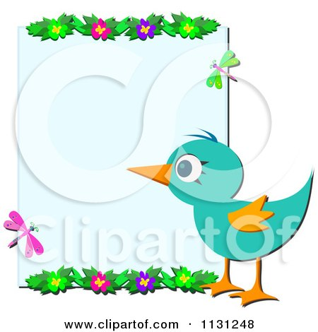 Cartoon Of A Bird Flowers And Dragonflies Framing Copyspace - Royalty Free Vector Clipart by bpearth