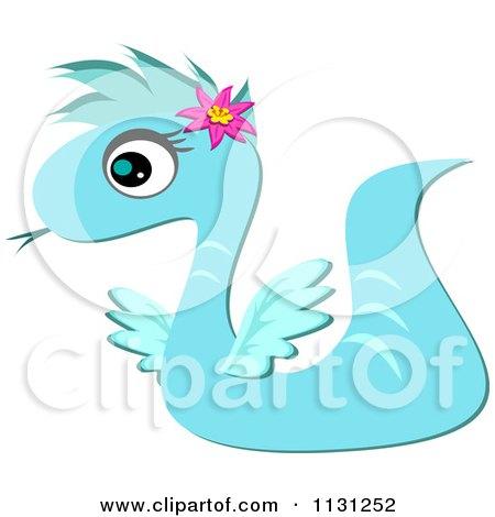 Cartoon Of A Blue Serpent Dragon Royalty Free Vector Clipart