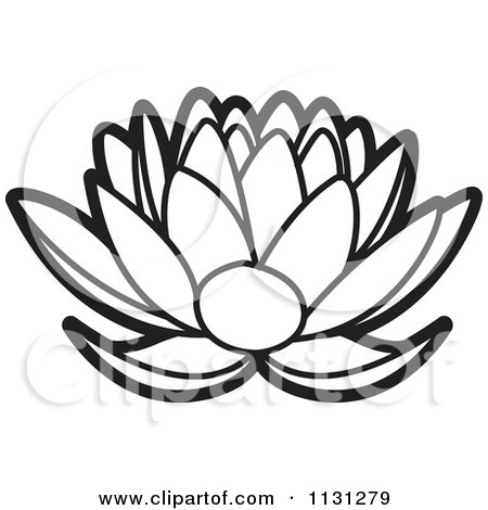 Clipart Of An Outlined Lotus Flower - Royalty Free Vector ...