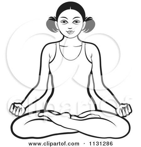 Clipart Of A Black And White Woman Meditating - Royalty Free Vector Illustration by Lal Perera