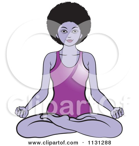 Clipart Of A Black Woman Meditating In A Body Suit - Royalty Free Vector Illustration by Lal Perera
