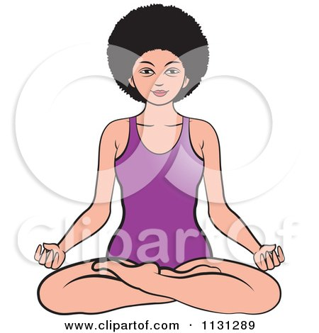 Clipart Of An African American Woman Meditating 1 - Royalty Free Vector Illustration by Lal Perera