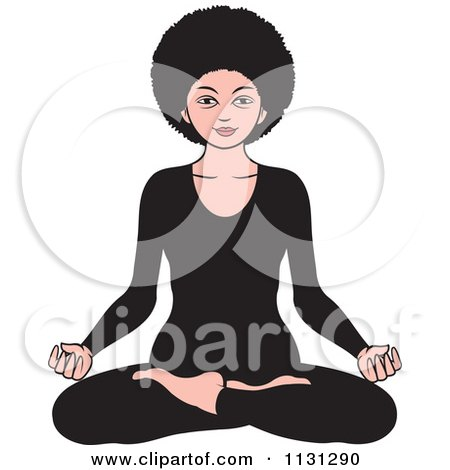 Clipart Of An African American Woman Meditating 2 - Royalty Free Vector Illustration by Lal Perera