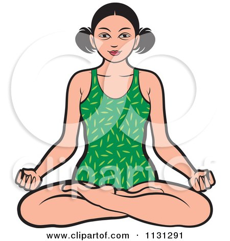 Clipart Of A Black And White Asian Woman Meditating - Royalty Free Vector Illustration by Lal Perera