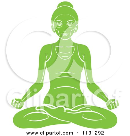 Clipart Of A Green Yoga Woman Meditating - Royalty Free Vector Illustration by Lal Perera