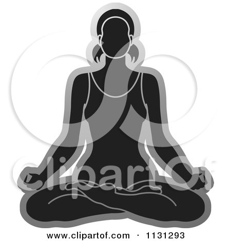 Clipart Of A Grayscale Yoga Woman Meditating - Royalty Free Vector Illustration by Lal Perera