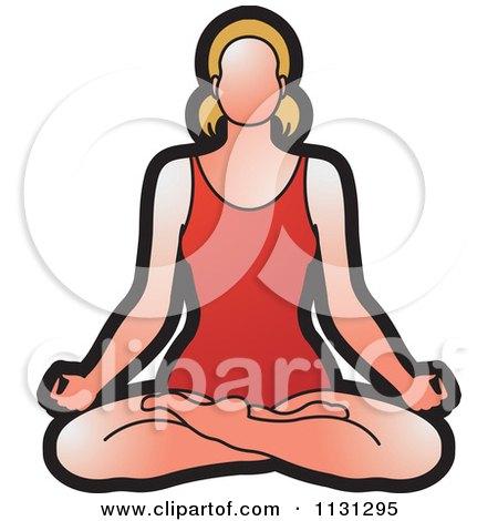 Clipart Of A Yoga Woman Meditating - Royalty Free Vector Illustration by Lal Perera