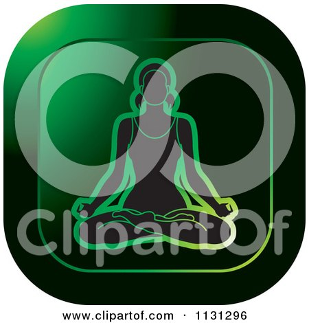 Clipart Of A Yoga Woman Meditating Icon 2 - Royalty Free Vector Illustration by Lal Perera