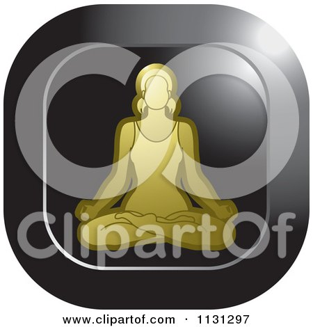 Clipart Of A Yoga Woman Meditating Icon 3 - Royalty Free Vector Illustration by Lal Perera