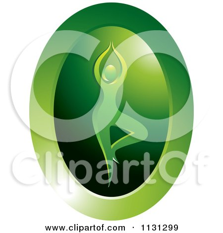 Clipart Of A Green Meditation Yoga Icon - Royalty Free Vector Illustration by Lal Perera