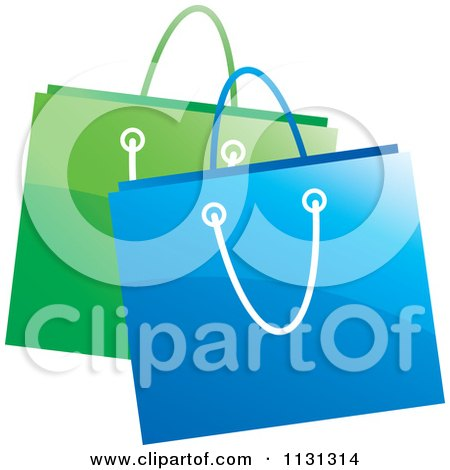 Clipart Of Green And Blue Shopping Bags - Royalty Free Vector Illustration by Lal Perera
