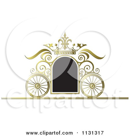 Clipart Of A Black And Gold Ornate Wedding Carriage Frame - Royalty Free Vector Illustration by Lal Perera