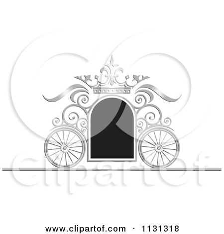 Clipart Of A Black And Silver Ornate Wedding Carriage Frame - Royalty Free Vector Illustration by Lal Perera