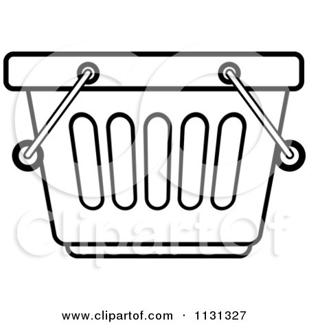 Clipart Of An Outlined Shopping Basket - Royalty Free Vector Illustration by Lal Perera