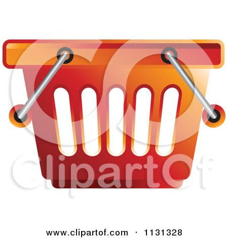 Clipart Of A Red Shopping Basket - Royalty Free Vector Illustration by Lal Perera
