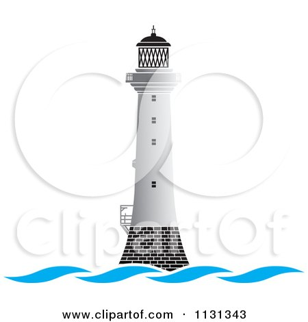 Clipart Of A White Lighthouse And Waves - Royalty Free Vector Illustration by Lal Perera
