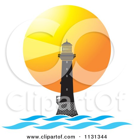 Clipart Of A Lighthouse Beacon Sunset And Waves - Royalty Free Vector Illustration by Lal Perera