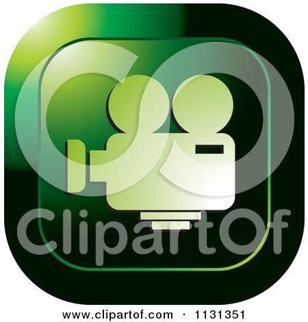 Clipart Of A Green Film Camera Icon - Royalty Free Vector Illustration by Lal Perera