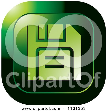 Clipart Of A Green Floppy Disc Icon - Royalty Free Vector Illustration by Lal Perera
