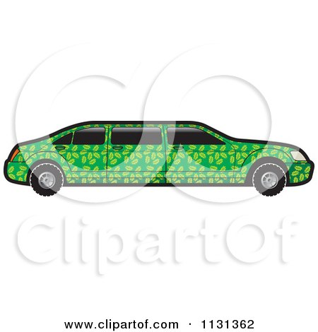Clipart Of A Green Floral Limo Car - Royalty Free Vector Illustration by Lal Perera