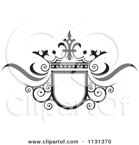Clipart Of A Black And White Ornate Wedding Crown And Frame - Royalty Free Vector Illustration by Lal Perera