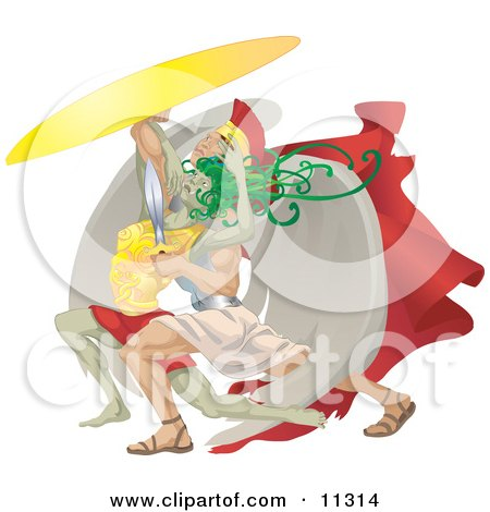 a Scene Depicting Perseus Beheading Medusa With a Sword Clipart Illustration by AtStockIllustration