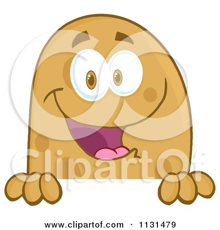 Cartoon Of A Happy Potato Mascot Over A Sign - Royalty Free Vector Clipart by Hit Toon