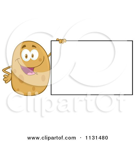 Cartoon Of A Happy Potato Mascot By A Sign - Royalty Free Vector Clipart by Hit Toon