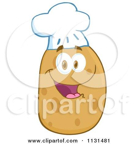 Cartoon Of A Happy Chef Potato Mascot - Royalty Free Vector Clipart by Hit Toon
