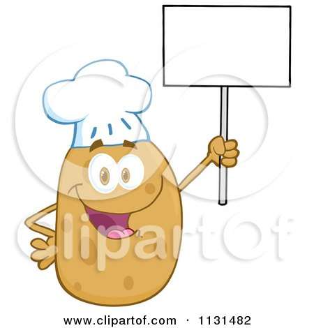 Cartoon Of A Happy Chef Potato Mascot Holding A Sign - Royalty Free Vector Clipart by Hit Toon