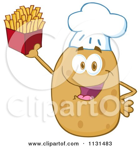 Cartoon Of A Happy Chef Potato Mascot Holding Fries - Royalty Free Vector Clipart by Hit Toon