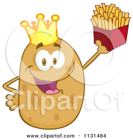 Cartoon Of A Happy King Potato Mascot Holding Fries - Royalty Free Vector Clipart by Hit Toon