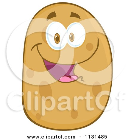 Cartoon Of A Happy Potato Mascot - Royalty Free Vector Clipart by Hit Toon