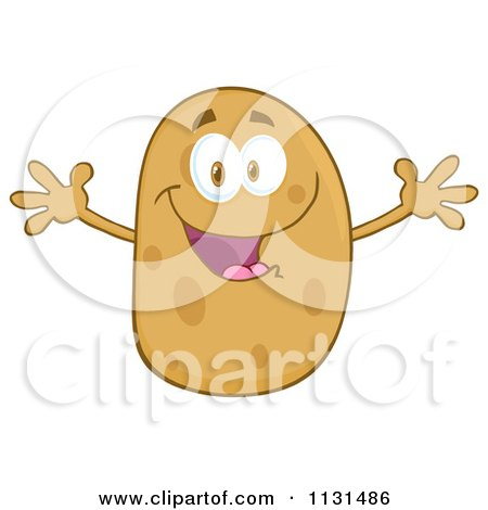 Cartoon Of A Happy Potato Mascot With Open Arms - Royalty Free Vector Clipart by Hit Toon