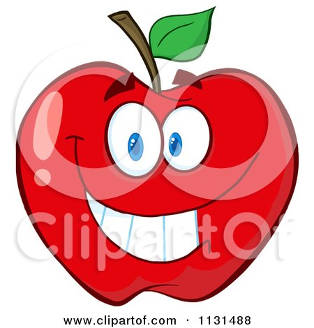 Cartoon Of A Smiling Red Apple Mascot - Royalty Free Vector Clipart by Hit Toon