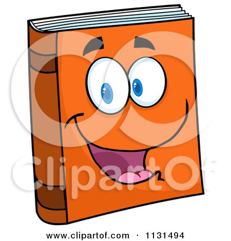 Cartoon Of A Happy Orange Book Mascot - Royalty Free Vector Clipart by Hit Toon