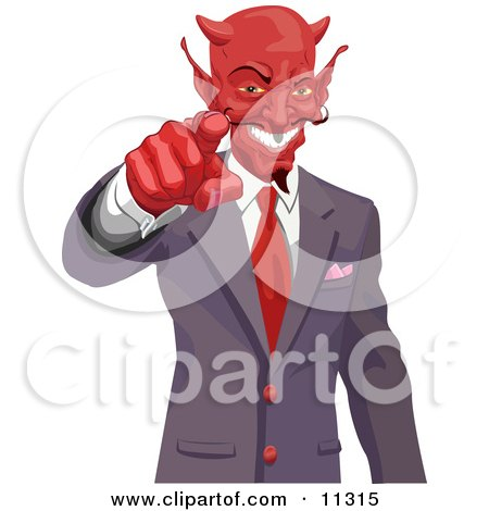 Greedy Horned Devil Pointing, Wanting Your Soul or Money Clipart Picture by AtStockIllustration