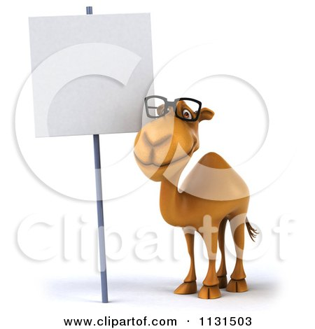 Clipart Of A 3d Camel Wearing Glasses By A Sign 1 - Royalty Free CGI Illustration by Julos