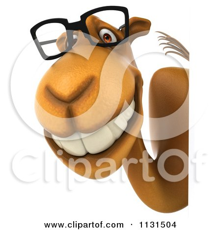 Clipart Of A 3d Camel Wearing Glasses By A Sign 2 - Royalty Free CGI Illustration by Julos