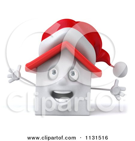 Clipart Of A 3d Christmas White House With Open Arms - Royalty Free CGI Illustration by Julos