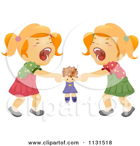 Cartoon Of Twin Sisters Fighting Over A Doll - Royalty Free Vector Clipart by BNP Design Studio